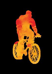 logo ciclista in bici stilizzato colore arancio di trevisobazar